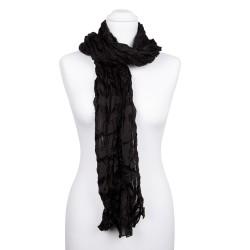Knitterschal XXL Schwarz 100% reine Seide 180x90cm