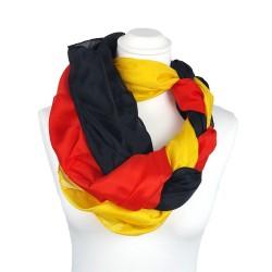 FAN-SET | Deutschland - Seidentuch Halstuch Schal einfarbig 90x90 cm
