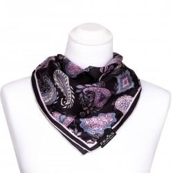 Nickituch aus Seide 53x53 cm mit Paisleymuster schwarz, rosa, blau, grau, Halstuch, Seidentuch, Kopftuch, Bandana