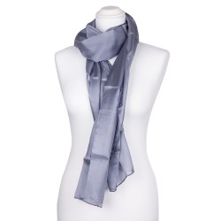 Seidenschal grau silber 100% reine Seide 180x45cm
