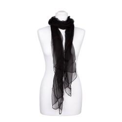 Seidenstola Chiffon schwarz 100% reine Seide 230x55cm uni einfarbig