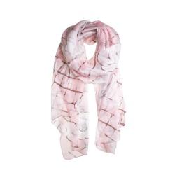 Seidenschal Halstuch Schal Chiffon weiß rosa Grafikprint