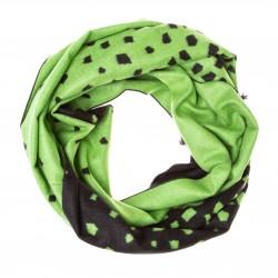 Seidenflanell Schal Halstuch Scherben schwarz grün 180x30 cm reine Seide