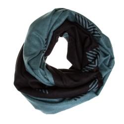 Seidenflanell Stola Halstuch Schal schwarz petrol 200x60 cm reine Seide