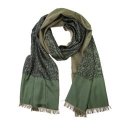 Eleganter Winterschal Seidenflanell grün Grafikprint schwarz
