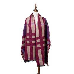 Winterschal XXL Seidenflanell Schal Stola weinrot violett 200x60 cm 100% Seide
