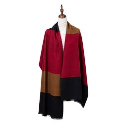 Winterschal XXL Seidenflanell Schal Stola schwarz braun rot 200x60 cm 100% Seide