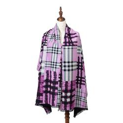Winterschal XXL Seidenflanell Schal Stola pink Grafikprint 185x65 cm 100% Seide