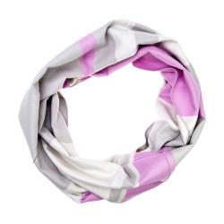 Winterschal Rundschal Loop grau rosa gestreift
