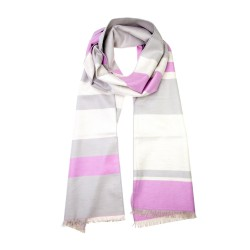 Winterschal Seidenflanell Schal rosa grau gestreift