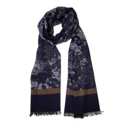 Winterschal Seidenflanell Batik dunkelblau