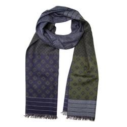 Winterschal Seidenflanell Mustermix grün grau dunkelblau