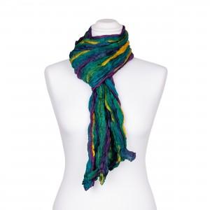 Knitterschal XXL Farbverlauf Türkis-Violett-Gelb