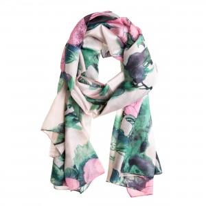 Seidenschal Halstuch Schal Chiffon naturweiß Floralprint rosa