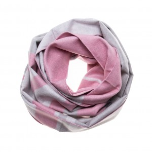 Seidenflanell Schal Halstuch rosa grau gestreift