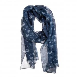 TINITEX Seidenschal Halstuch Schal dunkelblau Schneeflocken