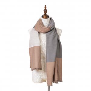 Winterschal XXL Seidenflanell Schal Stola braun grau weiß