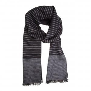 Winterschal Seidenflanell schwarz grau gestreift