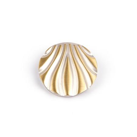 Schalclip Muschel, bicolor silber/gold, Tuchclip Messing