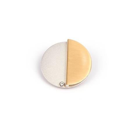 Schalclip Sonne + Mond bicolor Messing + Silber, Kristallstein