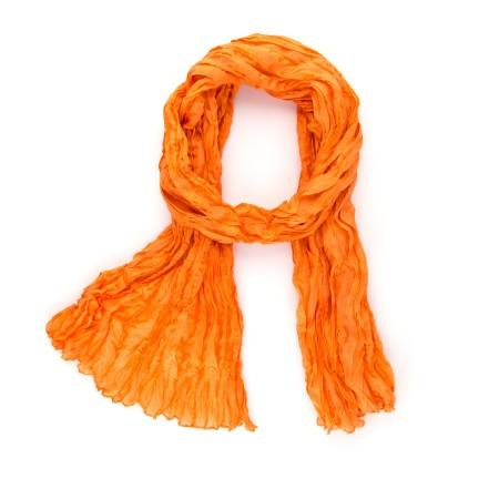 Seidenschal in Knitteroptik 180x90 cm Mandarine-Orange