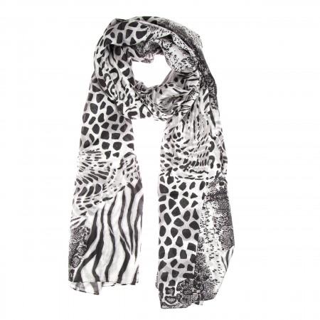 Seidenschal mit Animal-Print, Leopardenprint, Schlangenprint, Zebraprint, schwarz grau