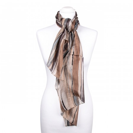 Seidenschal braun weiß schwarz gestreift 100% reine Seide 180x50cm Damen