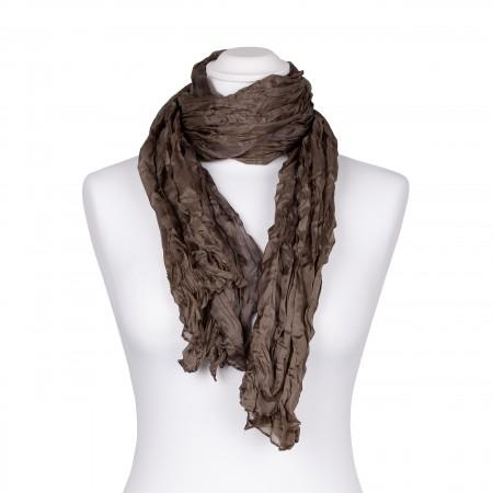 Knitterschal XXL bungee grau braun 100% reine Seide 180x90cm Crinkle uni einfarbig
