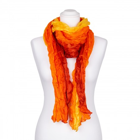 Knitterschal XXL gelb orange rot Farbverlauf 100% reine Seide 180x90cm Damen