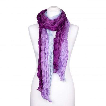Knitterschal XXL lila violett flieder Farbverlauf 100% reine Seide 180x90cm Damen