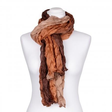 Knitterschal XXL mit braunem Farbverlauf 100% reine Seide 180x90cm Damen