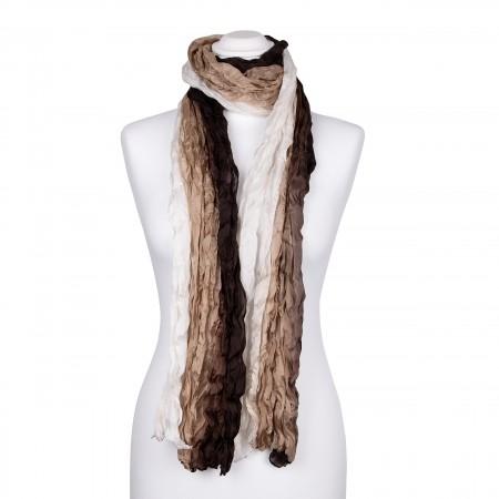 Knitterschal XXL mit weiß beige braunem Farbverlauf 100% reine Seide 180x90cm