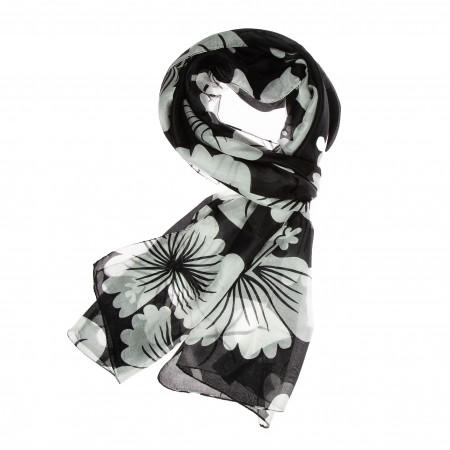 Seidenschal schwarz Floralprint weiss