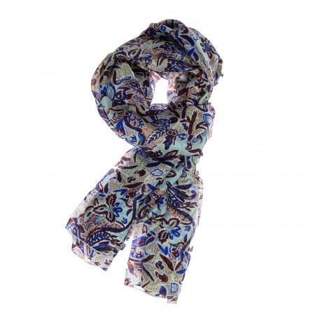 Seidenschal Floralprint blau