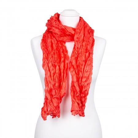 Knitterschal XXL Koralle orange rot 100% reine Seide 180x90cm uni einfarbig