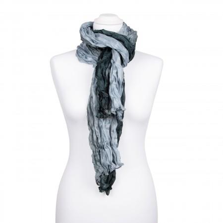 Knitterschal XXL mit Farbverlauf grau anthrazit 100% Seide 180x90cm