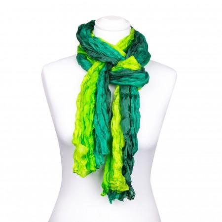Knitterschal XXL Farbverlauf grün dunkelgrün hellgrün 100% Seide 180x90cm