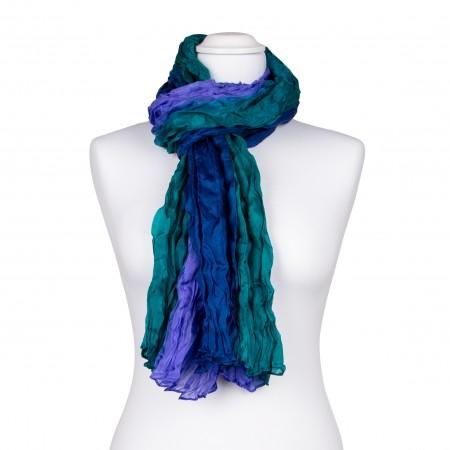 Knitterschal XXL blau grün Farbverlauf 100% reine Seide 180x90cm Crash-Schal