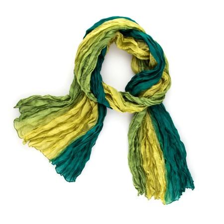 Seiden-Knitterschal Farbverlauf olive grün 180x90cm reine Seide