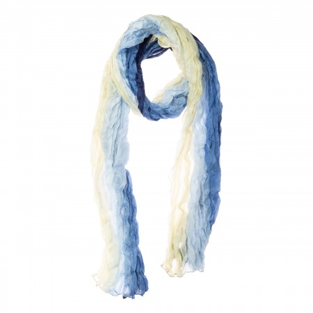 Seidenschal in Knitteroptik mit Farbverlauf, weiß, blau, 180x90cm, 100% reine Seide