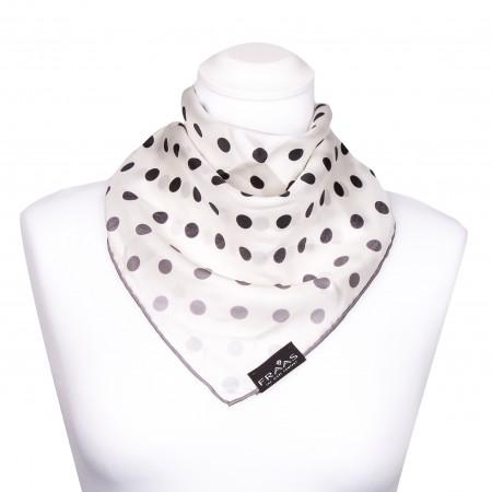 Nickituch aus Seide 53x53 cm, naturweiß mit schwarzen und grauen Punkten, Halstuch, Seidentuch, Kopftuch, Bandana