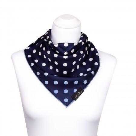 Nickituch aus Seide 53x53 cm, dunkelblau, Navy, marine mit weißen und blauen Punkten, Halstuch, Seidentuch, Kopftuch, Bandana