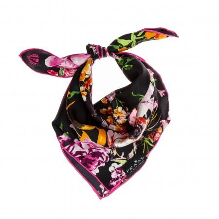 Nickituch schwarz-pink Floralprint