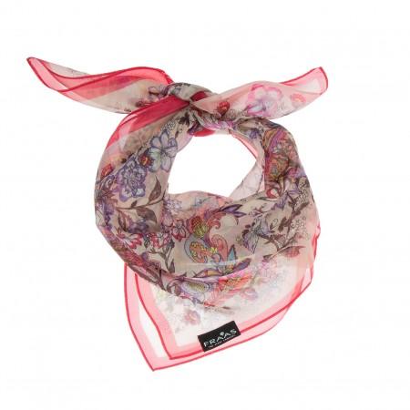 Seidentuch Paisley rosa-grau