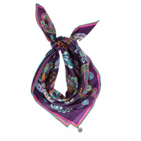 Nickituch Pailsley lila-violett