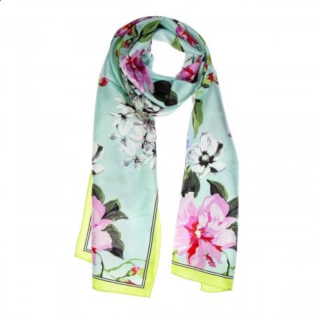 Seidenschal hellblau Floralprint