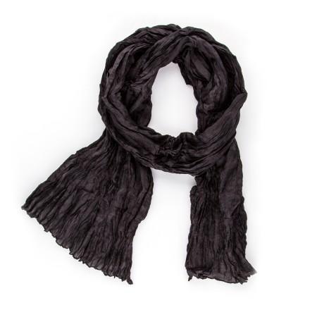 Knitterschal 180x45cm schwarz einfarbig reine Seide unifarben