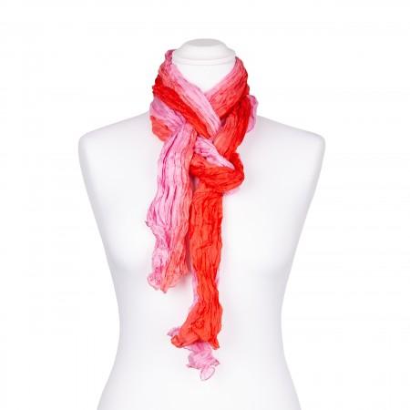 Knitterschal XXL Farbverlauf lachs rosé 100% reine Seide 180x90cm Crinkle