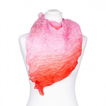Knitterschal XXL Farbverlauf lachs rosé 100% reine Seide 180x90cm