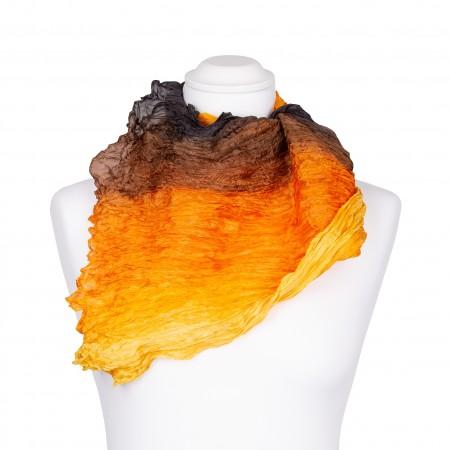 Knitterschal XXL Farbverlauf gelb orange braun schwarz 100% reine Seide 180x90cm Crinkle